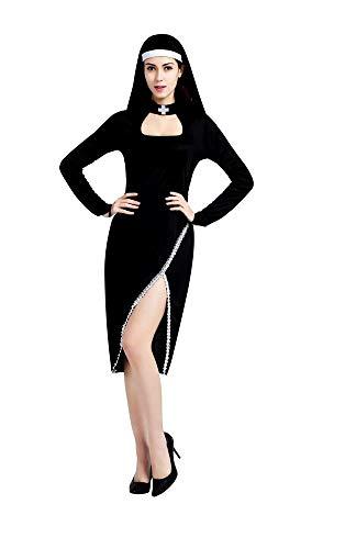 KIRALOVE Disfraz de Monja - Monja Sexy - Disfraces de Mujer - Halloween - Carnaval - Cosplay - Accesorios - Mujer niña - Talla única - Idea de Regalo Original Cosplay