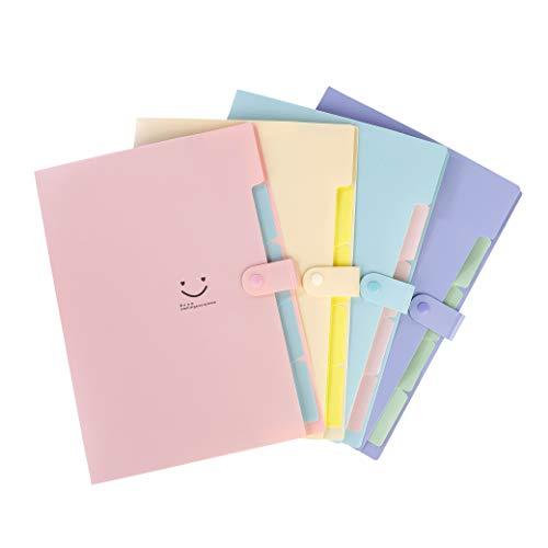 Dokumentenmappe A4 Fächermappe Veranstalter Datei Organizer mit Verschluss Knopf Veranstalter Ordner 4 Pcs für Zuhause oder Büro Dokumente Papiere (5 Fächer)