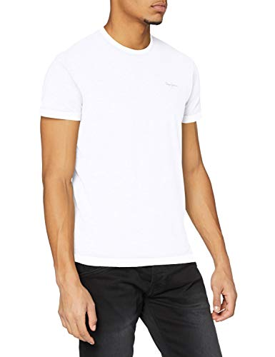 Pepe Jeans Original Basic S/S PM503835 Camiseta, Blanco (White 800), Large para Hombre