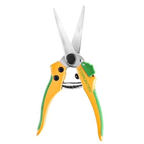 GRÜNTEK Gartenschere Colibri Long 195 mm, Ernteschere, Pflanzenschere, Blumenschere mit Soft-Touch Ergo-Griffe, zentrierte SK5 Präzisions-Klingen Bypass, kompaktes Design, geschmiedeter Körper