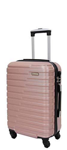 4 Wheels Hard Shell Suitcase Lightweight Strong Travel Luggage HLG303 Rose Gold (Cabin | 55x36x20cm/ 2.60KG)