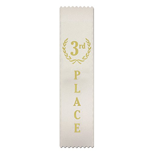 3rd Place (White) Quality Award Ribbons - 50 Count Metallic Gold foil Print – Made in The USA