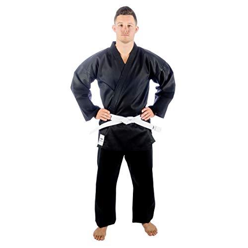TOKYODO Karate Uniform Middleweight 8 oz for Kids & Adults Student Gi– 3pc Gi Set Includes Pants, Kimono Jacket & Free White Belt – Comfortable Polyester & Cotton Blend (Black, 000)
