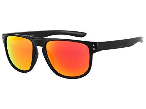 EFE Gafas de sol deportivas polarizadas mujer hombre mujer unisex polaroid gafas Retro Diseñado de espejo ligeros comodos protección UV400 redondas Pesca Senderismo Conducir Running nalanja/negro