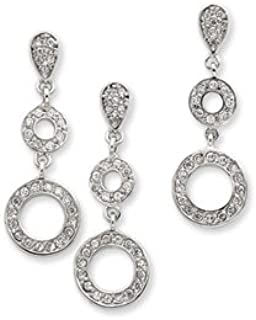 Sterling Silver Polished Post Earrings Cubic Zirconia Circle Pendant and Earring Set