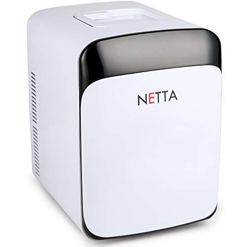 NETTA - Mini nevera portátil de 15 L, color blanco con función de enfriamiento y calentamiento, CA/CC 12 V