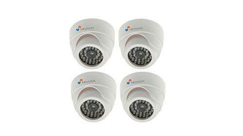 Nivian-Kit 4 Unidades Cámara Falsa Tipo Domo-Dummy Cámara de Seguridad Vigilancia Falsa Impermeable-Simulación Leds IR en Oscuridad -Incluye Soporte y Visera - Fake Cámara Simulada CCTV