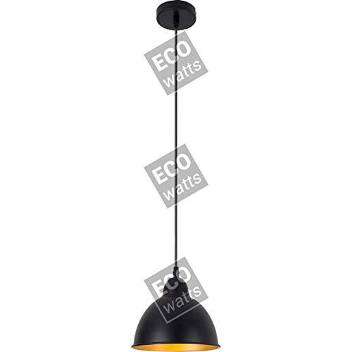 Suspension E27 abat-jour métal Noir extérieur/ Doré intérieur cable PVC L.100cm