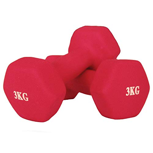 Goutime 3kg Neoprene Dumbbell Set,Fitness Gym Exercise with Non-Slip Hand for Men and Women at Home (Pack of 2)