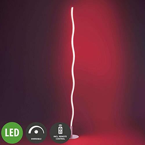 Lindby LED Stehlampe 'Lucian' dimmbar mit Fernbedienung (Modern) in Chrom aus Edelstahl u.a. für Wohnzimmer & Esszimmer (A+, inkl. Leuchtmittel) - LED-Stehleuchte, Floor Lamp, Standleuchte