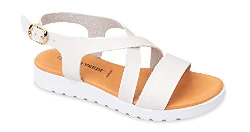 Valleverde Sandalo Donna Pelle 24101 Bianco Una Calzatura Comoda Adatta per Tutte Le Occasioni. Primavera Estate 2020. EU 37