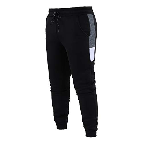 YU MENG Pantalones de chándal Largos para Hombre, Pantalones de chándal Casuales con Bolsillos y cordón elástico (Black, 3XL)