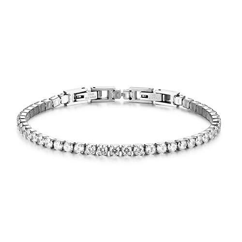 JewelryWe Bracelet pour femme homme avec zircons brillants et perles style tennis élégance moderne cadeau Bianco Grande