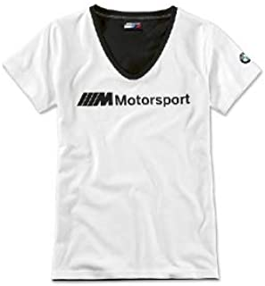 BMW M Motorsport - Camiseta para mujer con logotipo en blanco y negro, talla M