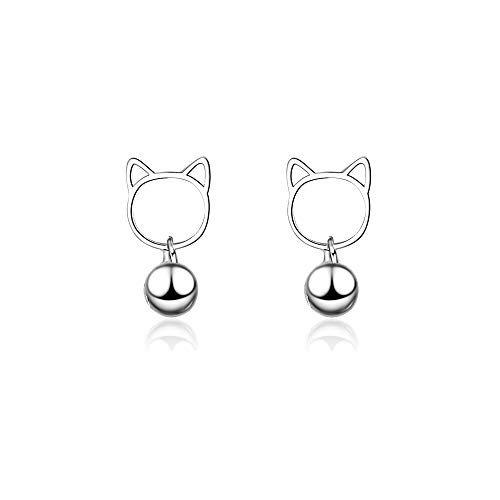 AdronQ Ladies Cute Fashion 925 Silber Katzenglocke Ohrring Geschenk