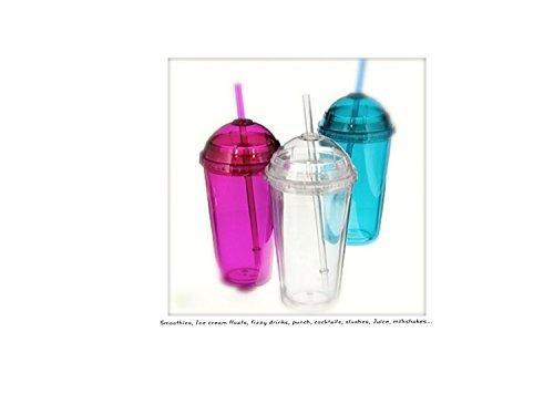 3 x grote MIXED Smoothie Cups (dubbelwandig) met schroefdeksels en plastic rietjes - Milkshake bril, Smoothie cups, Slushie cups, Ice cold drinks Tumblers