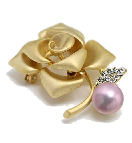 『つやたま【最高級】大粒11-12mm 本真珠 薔薇 パール ブローチ ピンクパープルカラー』の2枚目の画像