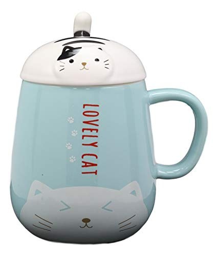 Ebros Lovely Cat Paw Prints With Tuxedo Cat Lid Blue Ceramic Coffee Tea Mug Drink Cup With Striped Cat Tail Spoon 15oz Animal Pets Cats Kittens