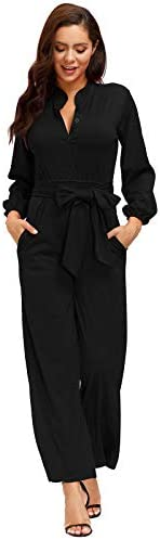 Ophestin Womens Long Sleeve Jumpsuit for Work Wide Leg Pants Rompers with Belt Black Size L product image