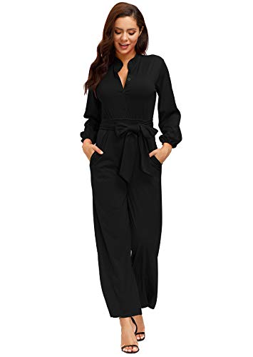 Ophestin Womens Long Sleeve Jumpsuit for Work Wide Leg Pants Rompers with Belt Black Size 2XL