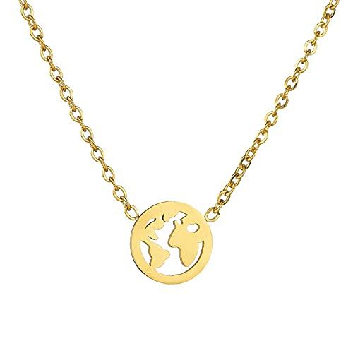 Kkoqmw Collar Collares con Colgante de Mapa del Mundo de Acero Inoxidable de Color Dorado