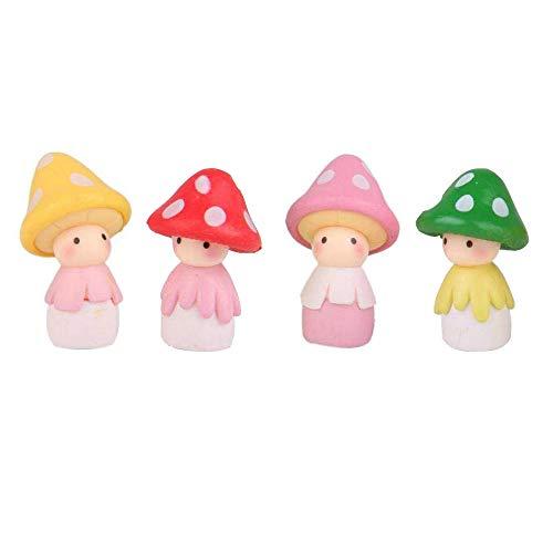 COOLTOP Mini-Pilz aus Kunstharz, Miniatur-Ornamente für Feengarten, Bonsai, Dekorationen, Puppenhaus-Zubehör, 4 Stück