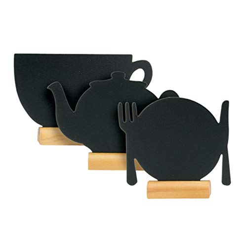 SECURIT Lot de 3 Silhouettes Mini Ardoise (Théière/Assiette/Tasse) Socle en Bois - Feutre-Craie Inclus