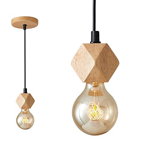 lampadario nordico SISVIV Lampada a Sospensione Legno Vintage Industriale Lampadario Singolo Rustico Nordico per Cucina Sala da Pranzo Ristorante Camera E27