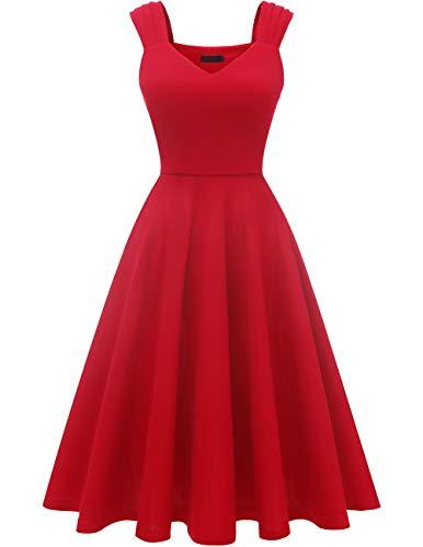 DRESSTELLS trägerkleid Knielang Retro Kleid a Linie Damen Festliche Kleider Cocktailkleid Swing Kleid Red 2XL