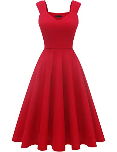 DRESSTELLS Damen 1950er Midi Rockabilly Kleid Vintage V-Ausschnitt Hochzeit Cocktailkleid Faltenrock Red L