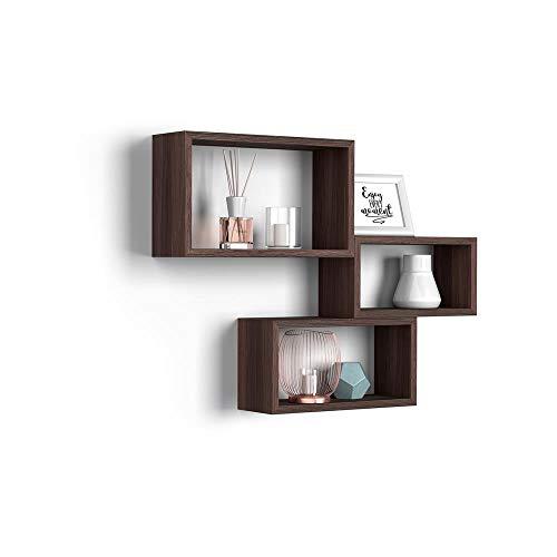 Mobili Fiver, Set de 3 esatantes de Pared rectangulares, Modelo Giuditta, Color Roble Oscuro - Wenguè, Aglomerado y Melamina, Made in Italy