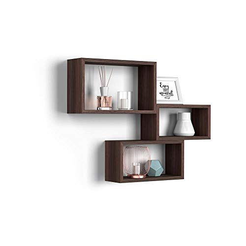 Mobili Fiver, Set de 3 esatantes de Pared rectangulares, Modelo Giuditta, Color Roble Oscuro - Wenguè, Aglomerado y Melamina, Made in Italy