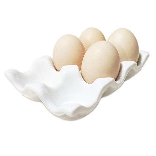 Komfami Eierhalter aus Keramik für den Kühlschrank oder die Küche, Porzellan, weiß, 13.593cm