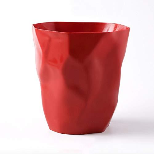 FCSFSF Basurero pequeño de plástico Redondo Papelera, Papelera de baño Grande, Contenedor de Basura de Cocina doméstica Sin Tapa para Dormitorio de Oficina Rojo 16x24.5x25cm (6x10x10inch)
