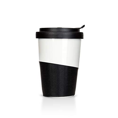 Mahlwerck Wave Kaffeebecher to go, Porzellan Coffee-to-go Becher mit auslaufsicherem Deckel, Schwarz Weiß, 400 ml