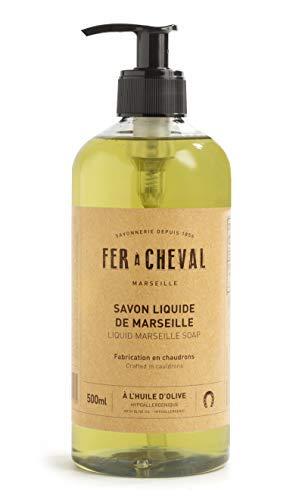 Fer à Cheval - Véritable Savon de Marseille Liquide à l'huile d'olive - Sans Conservateur, ce Savon Liquide Surgras et Hypoallergénique et Préserve l'équilibre de la Peau - 500 ml