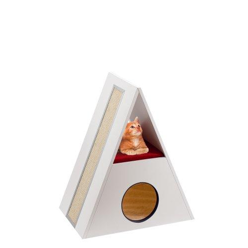 Ferplast 74051021 Katzenmöbel Merlin, aus Holz und mit Kratzfläche, Maße: 62 x 38,5 x 72 cm