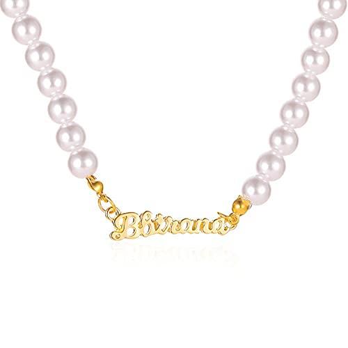 Nuevo collar de gargantilla de cadena de perlas simuladas para mujer, collar con colgante de letra de Color dorado de estilo coreano, collar de joyer¨ªa de moda-44033