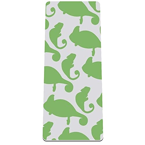 Esterilla de yoga antideslizante de 1/3 pulgadas de grosor con correa de transporte para todo tipo de ejercicio, yoga y pilates (72 pulgadas x 32 pulgadas x 8 mm de grosor) camaleón
