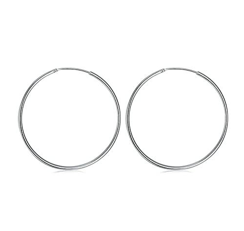 WWWL Pendiente 925 Pendiente de aro de Plata esterlina para Mujeres 50mm Grande círculo Redondo Pendientes Regalo de joyería