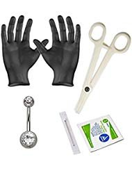 BodyJewelryonline Erwachsene 5-köpfigen Bauchnabel Piercing Kit - enthält 14ga Bauch Piercing Schmuck, Handschuhe, Nadel und Klemme - PK004