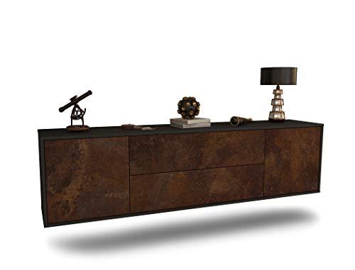 Dekati Lowboard Cincinnati hängend (180x49x35cm) Korpus anthrazit matt | Front rostigen Industrie-Design | Push-to-Open