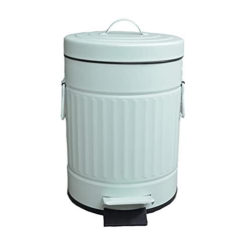 Papelera La basura de la cocina puede pedal retro la basura de la basura de acero inoxidable de la papelera de acero inoxidable, la papelera portátil con la tapa Bote de Basura ( Color : A )