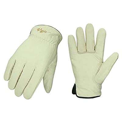 Vgo 2Pairs 32? or Above Lined Winter Cow Grain Leather Work and Driver Gloves (Size XL,Cream,CA9501F)