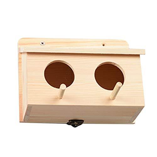 Schwenly Casita para pájaros de madera sin terminar, para colgar en el exterior, caja nido para periquitos, jaula para periquitos, casa de madera para loros, tortolitos,Color madera