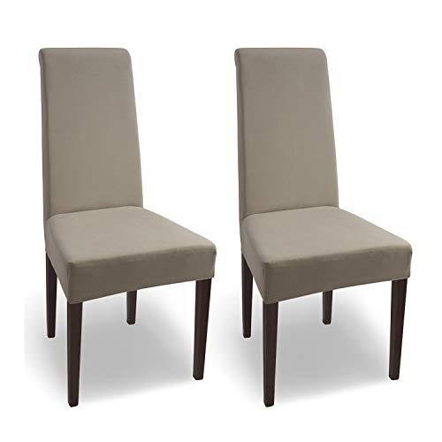 SCHEFFLER-Home Natalie 2 Fundas de sillas, Estirable Cubiertas, Algodón extraíble Funda con Banda elástica, Beige ✅