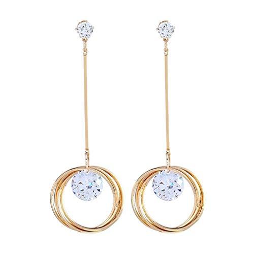 U-K Pendientes Colgantes de Diamantes de imitación Brillantes Largos para Mujeres, Color Dorado y prácticoÚtil y Agradable