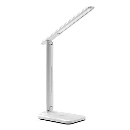 TYSYA LED bureaulamp met oplaadbare USB-aansluiting, traploos dimbaar, Pad Phone draadloos opladen, aanraakbediening, opvouwbaar, kantoor, slaapkamer, leeslamp