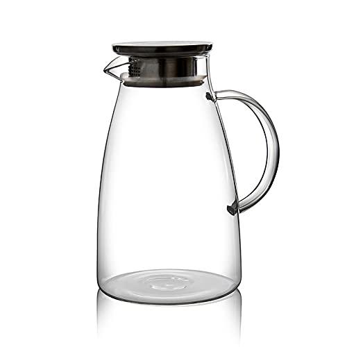 QIANJINGCQ Botella de agua fría de vidrio de borosilicato alto jugo de té de limón botella de agua de vidrio resistente a altas y bajas temperaturas de gran capacidad