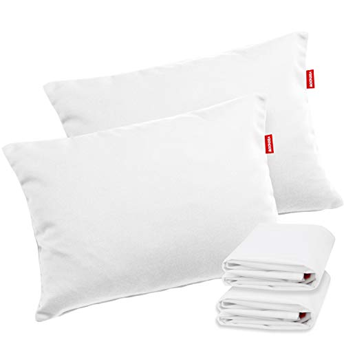 Moonsea Toddler Pillow with Pillowcase, Ultra Soft Organic Cotton Cover, 13 x 18 Inches 2 Pack Kids Pillows for Sleeping Fits Toddler Bed/Baby Crib/Cot
